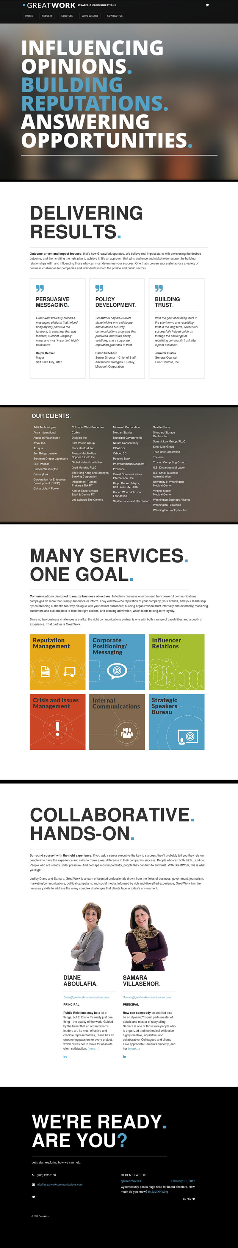 GreatWork Communications Website Screenshot