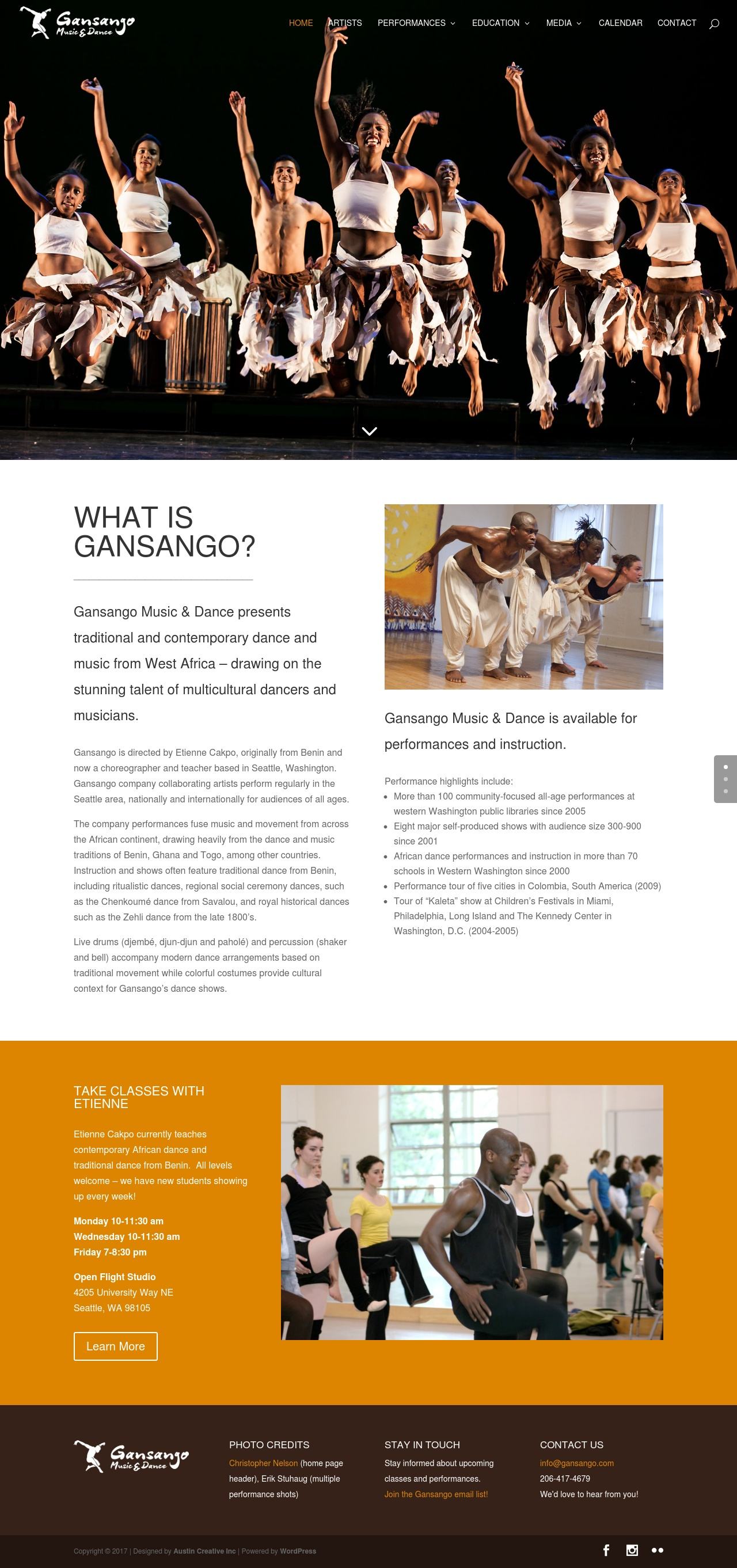 Gansango Music & Dance Website Screenshot